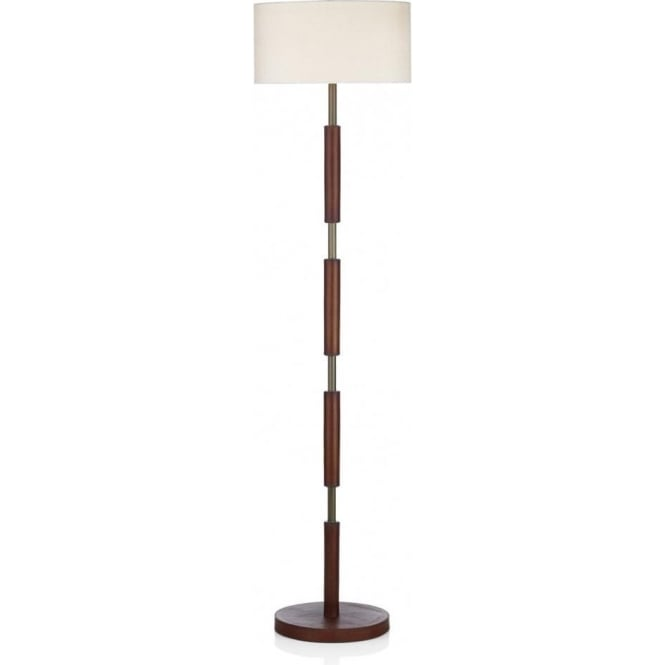 Floor Standing Lamp Saddler Decorative Brown Leather Effect With Shade
