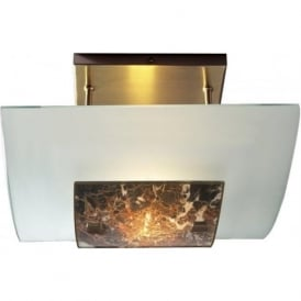 SAVOY semi flush ceiling light with frosted and dark marble glass