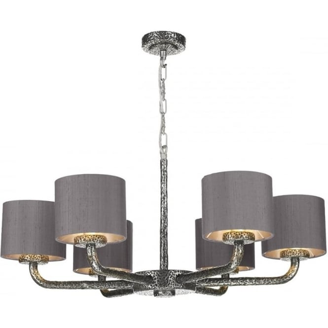 6 arm pewter ceiling pendant with dusky pink silk shades dual mount sloane dual mount 6 arm pewter ceiling light with charcoal grey silk shades aloadofball Gallery