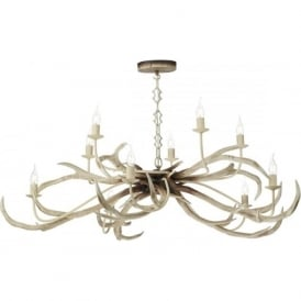 STAG large 10 light rustic bleached antler ceiling pendant light