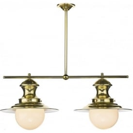 STATION LAMP 2 light brass ceiling bar suspension