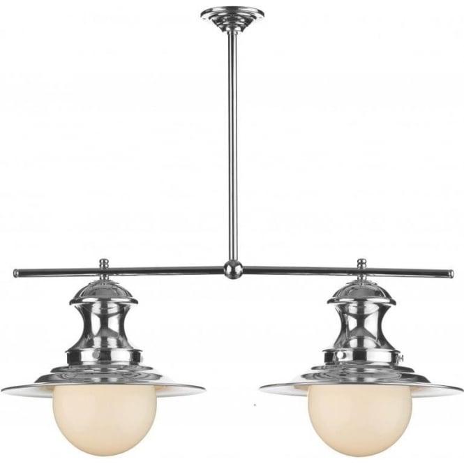 Station lamp double chrome pendant light for over table station lamp 2 light chrome bar suspension for over table aloadofball Gallery