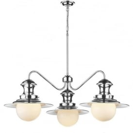 STATION LAMP 3 light ceiling pendant in chrome