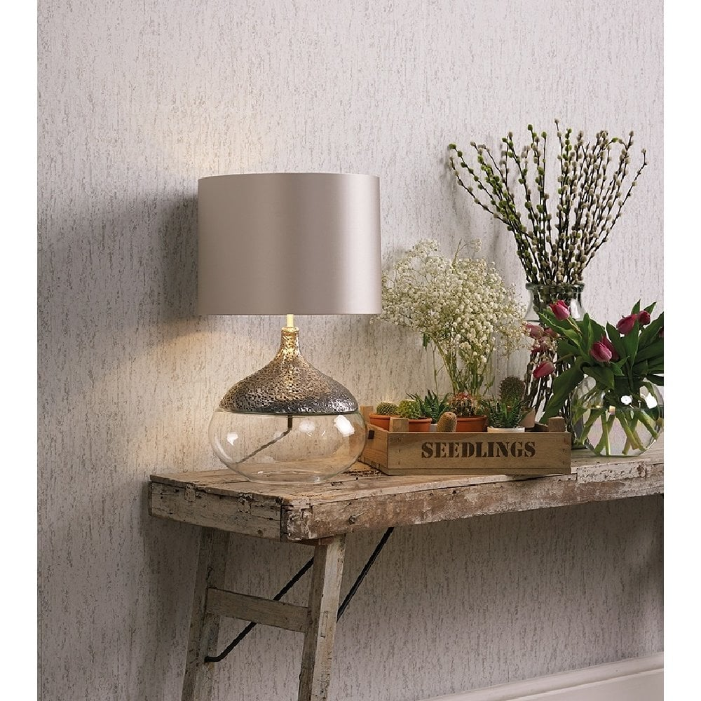 Table Pewter Glass And Lamp Teardrop Shade With Textured qUpzVSM