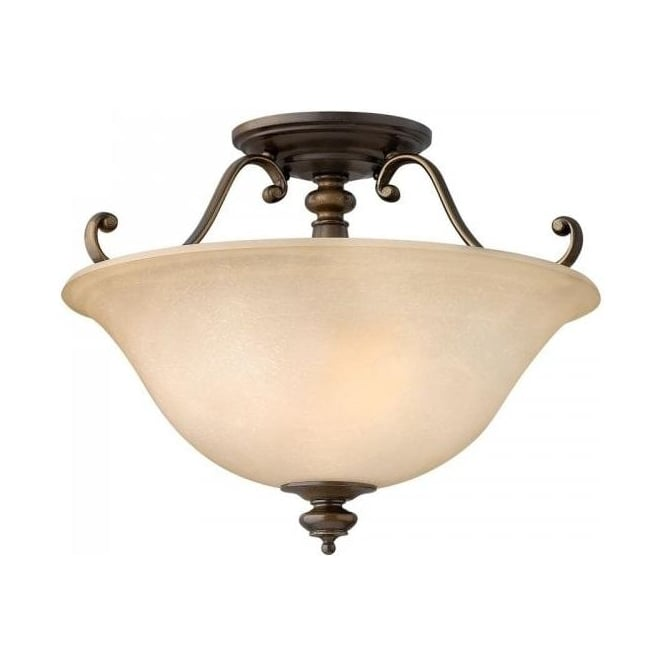 Traditional Bronze Low Ceiling Light Alabaster Glass Uplighter Shade