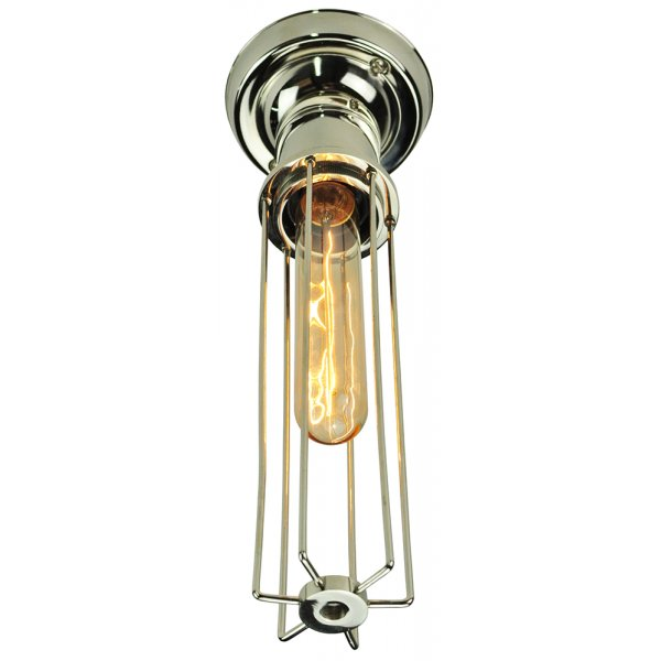 Flush Fitting Nickel Ceiling Light With Cage Shade And