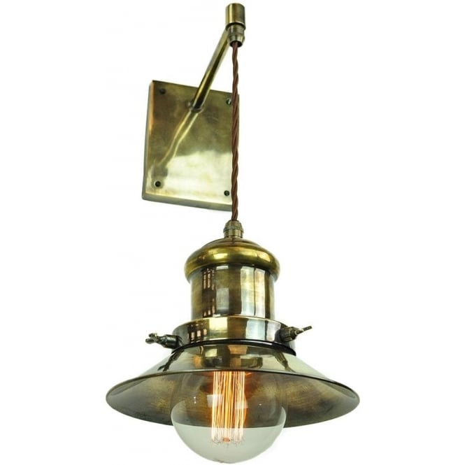 Wall Light Fitting with Hanging Nautical Style Light in Antique Finish