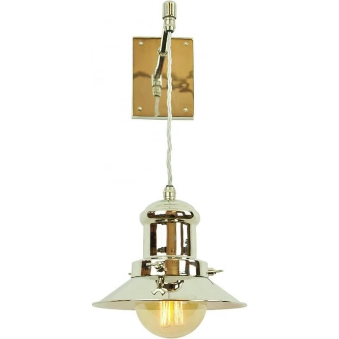 Hanging Wall Light Fitting with Pewter Nautical Lantern on Braided Wire