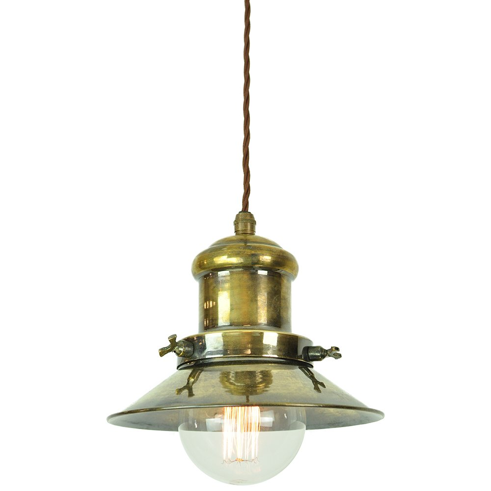 Nautical style ceiling pendant in aged brass with vintage bulb for Antique pendant light fixtures