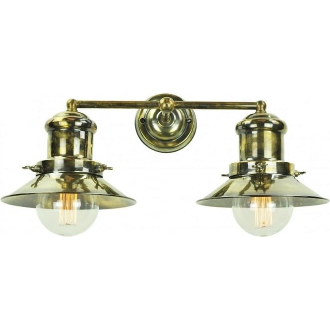 Edison Double Wall Light In Industrial Nautical Styling Antique Finish