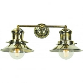 EDISON double wall light in industrial/nautical styling - antique finish