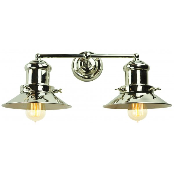 Industrial Style Double Wall Lights : Industrial Style Fisherman Wall Light in Nickel Finish with Amber Bulbs
