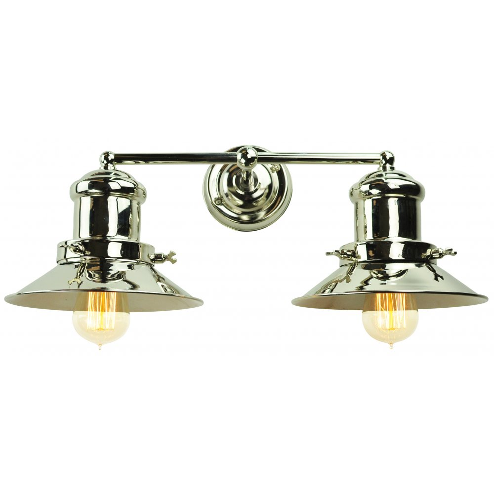 Double Industrial Wall Lights : Industrial Style Fisherman Wall Light in Nickel Finish with Amber Bulbs