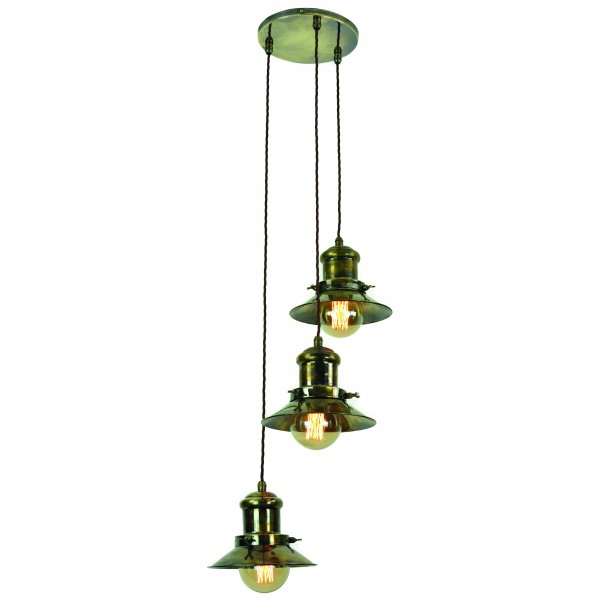 3 Light Ceiling Pendant Cluster In Industrial Natucial Styling