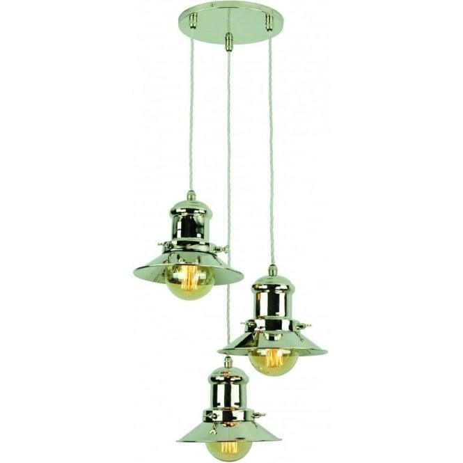 Industrial Kitchen Lights Uk: Edison 3 Light Nickel Ceiling Pendant, Modern Industrial