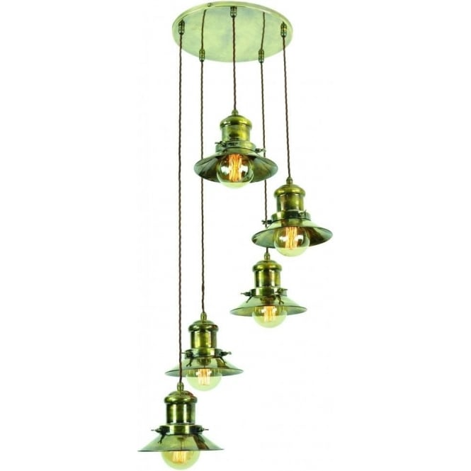 Ceiling Light With 5 Metal Hanging Lights, Industrial