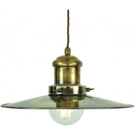 EDISON large industrial/nautical style ceiling pendant light - antique
