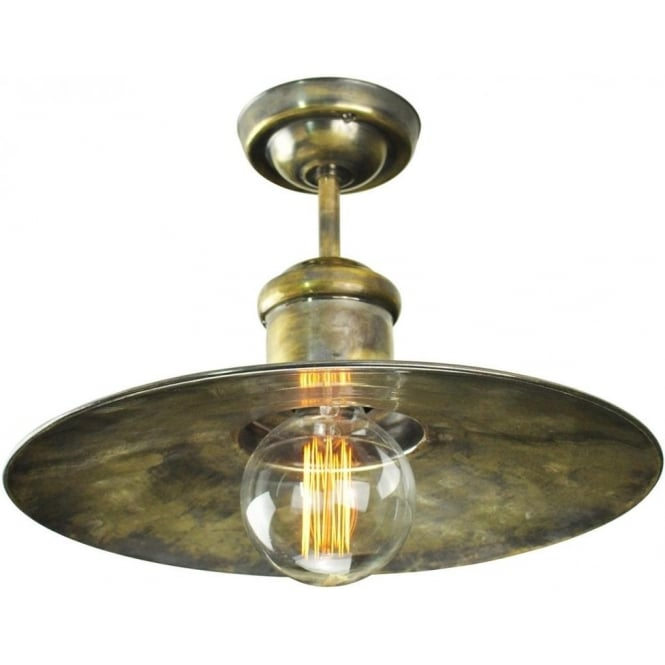 Nautical Style Semi-Flush Ceiling Light, Antique Finish