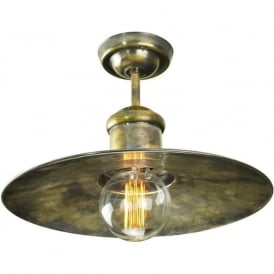 EDISON large semi-flush fitting nautical style ceiling light - antique