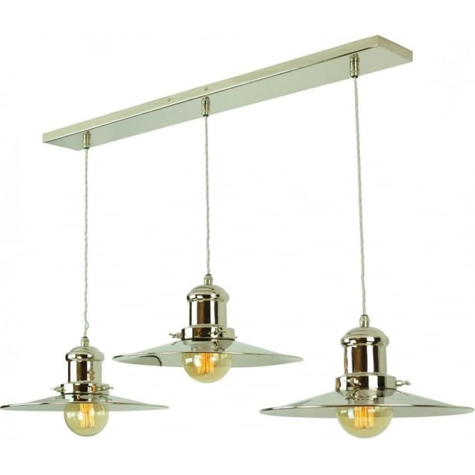 Kitchen Lighting Edison: Long Bar Ceiling Light With 3 Hanging Fisherman Pendants