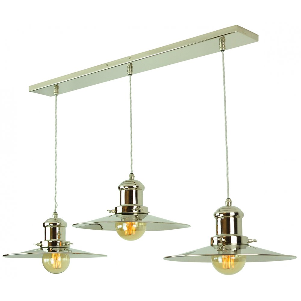 Long Bar Ceiling Light With 3 Hanging Fisherman Pendants