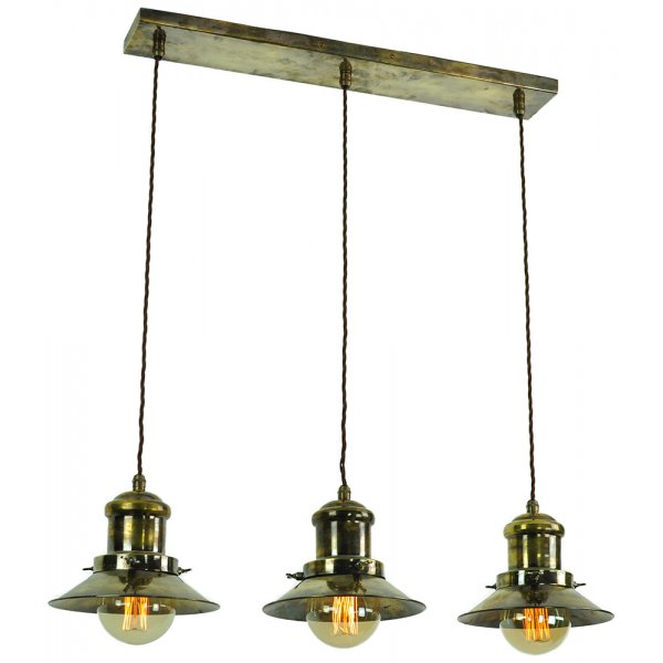 Hanging Kitchen Island Light With 3 Nautical Style Antique