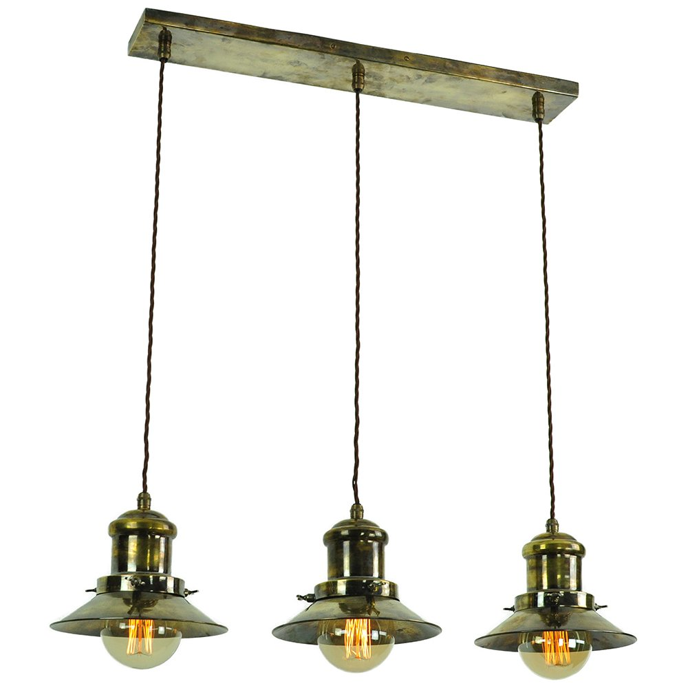 Hanging Kitchen Island Light With 3 Nautical Style Antique Brass Shades
