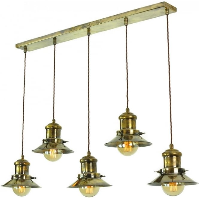 5 Light Kitchen Island Pendant Bar In Nautical Fisherman Style