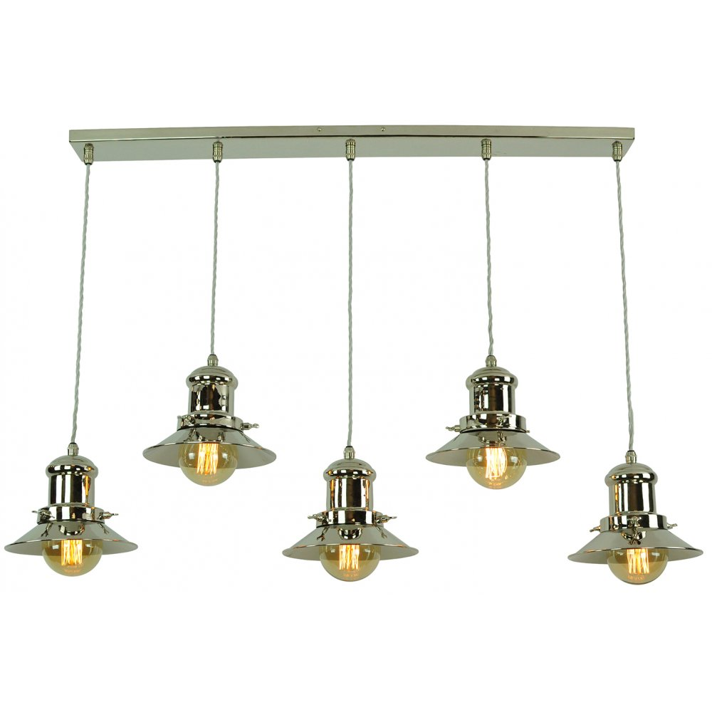 Vintage fisherman style kitchen island pendant with 5 for Kitchen island lighting pendants