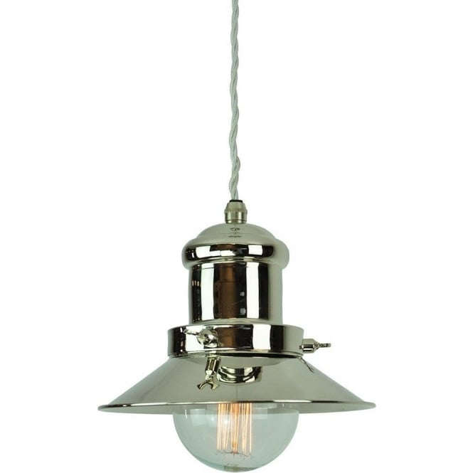 Pewter Ceiling Pendant Light In Nautcial Styling Hangs On