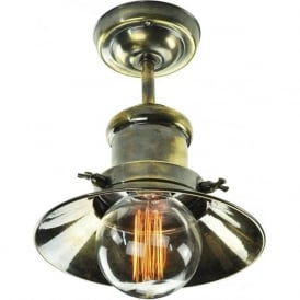 EDISON semi-flush fitting industrial/nautical style ceiling light - antique