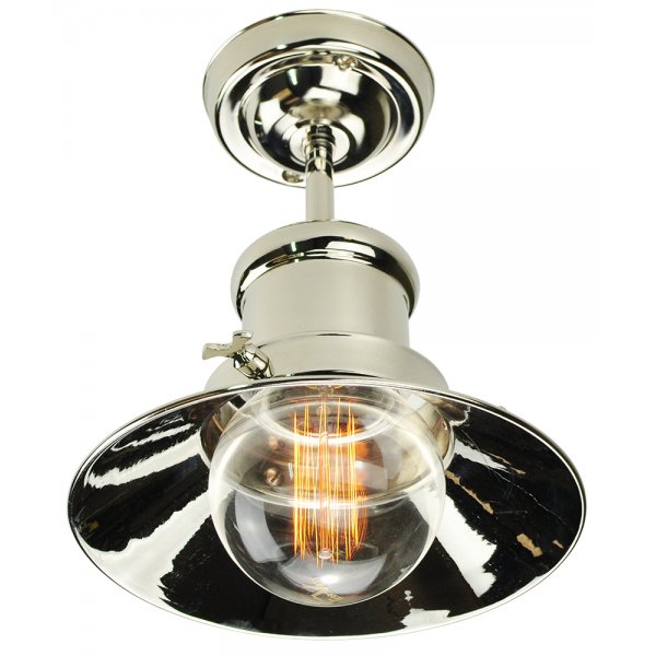 Nickel Semi Flush Light For Low Ceiling In Nautical Industrial Design