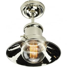 EDISON semi-flush fitting industrial/nautical style ceiling light - nickel