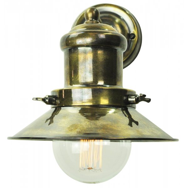 Small Industrial Wall Lights : Fisherman Style Nautical Wall Light in Aged Brass with Vintage Bulb