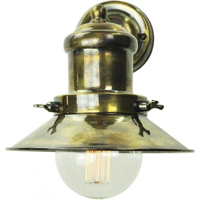 EDISON Small Industrial/nautical Style Wall Light   Antique