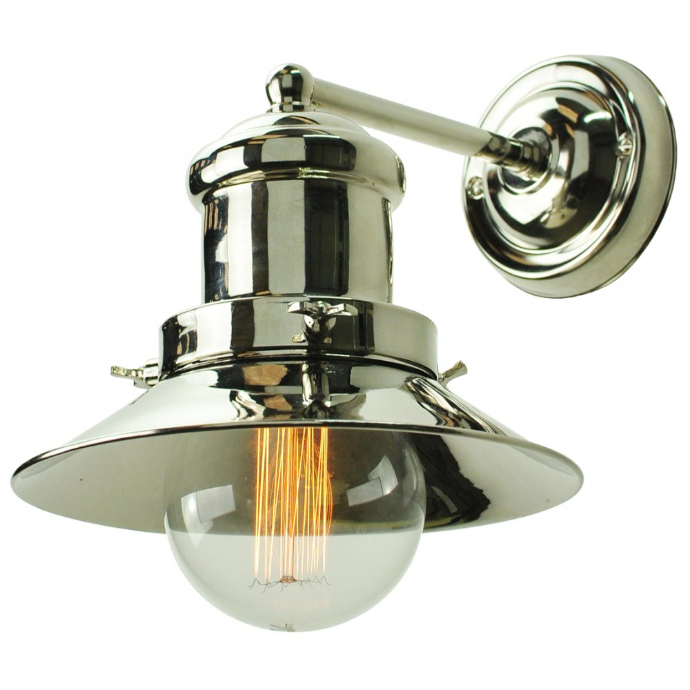Small Industrial Wall Lights : Nickel Fisherman Nautical Style Wall Light with Edison Amber Tint Bulb