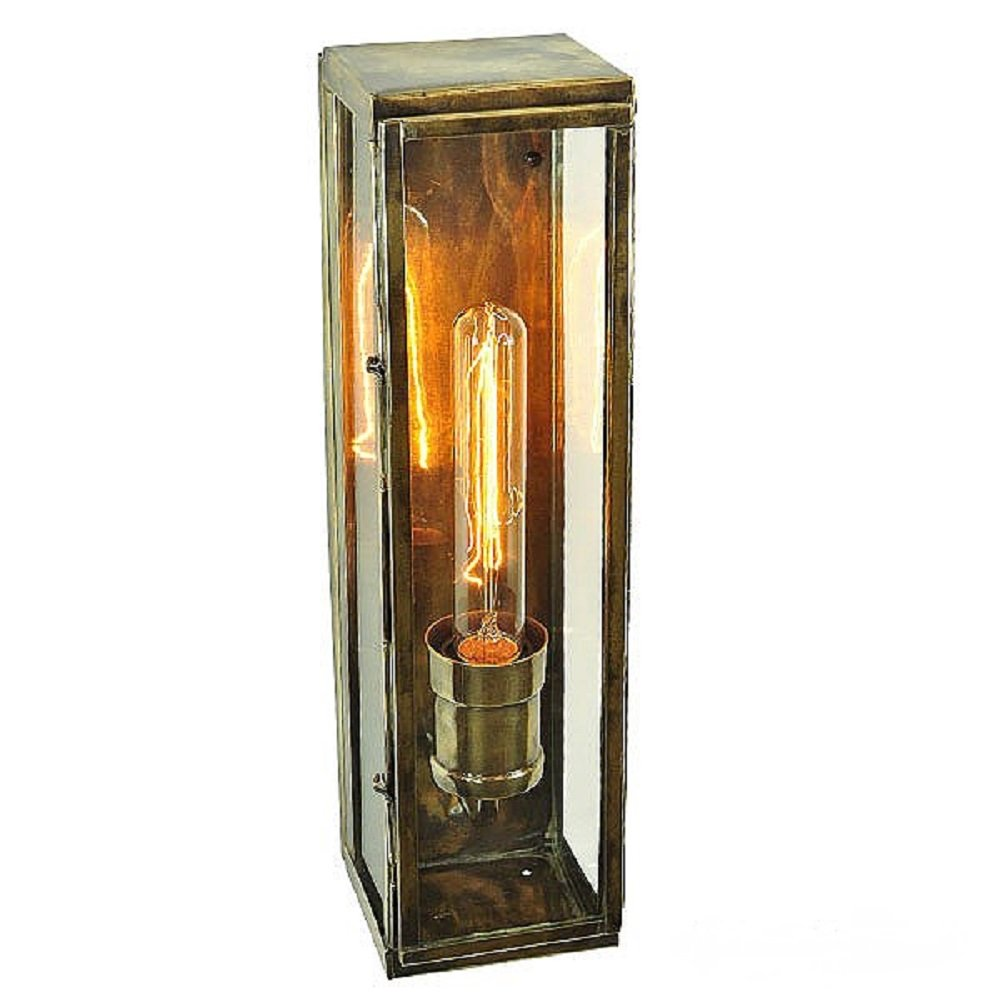 Rectangular Outdoor Wall Light Antique Finish With Vintage Bulb