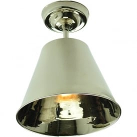 MAP ROOM retro style flush fitting metal ceiling light - nickel