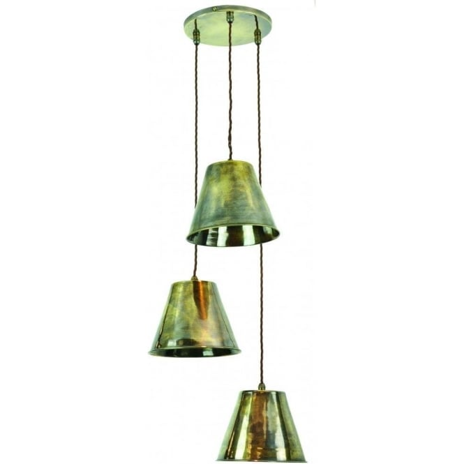 Edison Lighting MAP ROOM traditional 3 light LED ceiling cluster pendant - antique finish