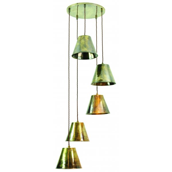 Cluster Ceiling Pendant Light, 5 Antique Metal Shades On