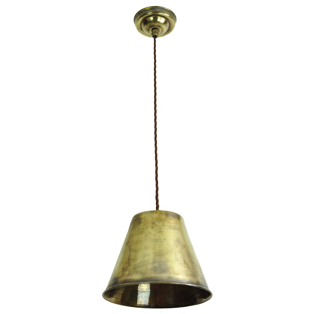 Led Ceiling Lights Brass : Vintage metal led ceiling pendant light hanging on braided