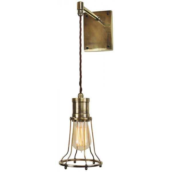 Adjustable Height Wall Lamps : Hanging Wall Mounted Light Fitting, Industrial Design with Cage Frame
