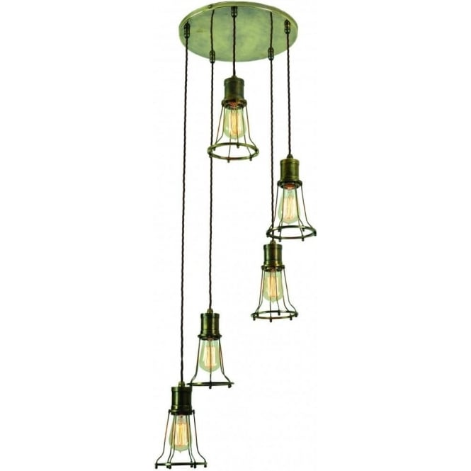 Edison Lighting MARCONI industrial 5 light ceiling cluster pendant - antique