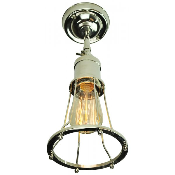 Adjustable Vintage Wall Light with Nickel Cage Shade and Edison Bulb