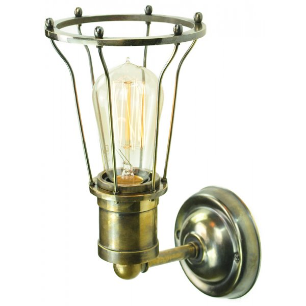 Vintage Industrial Style Wall Lights : Industrial Factory Style Wall Light, Antique Metalwork with Caged Shade