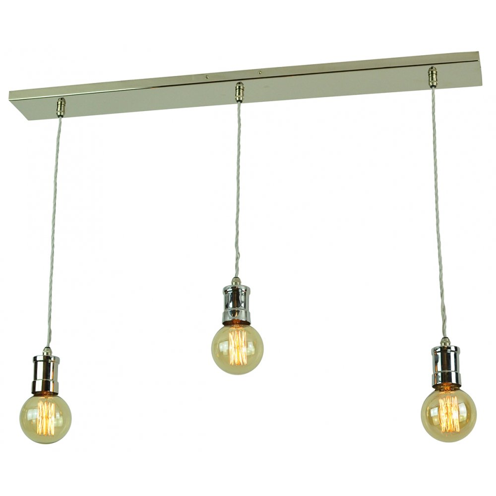 3 Light Nickel Bar Suspension Ceiling Light With Vintage
