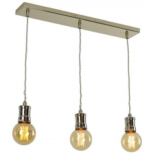 3 light nickel bar suspension ceiling light with vintage. Black Bedroom Furniture Sets. Home Design Ideas