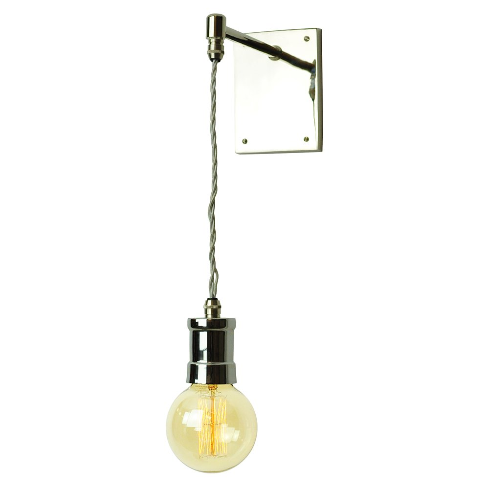 Lights Hanging On Wall : Long Hanging Wall Light on Braided Cable in Industrial Vintage Style