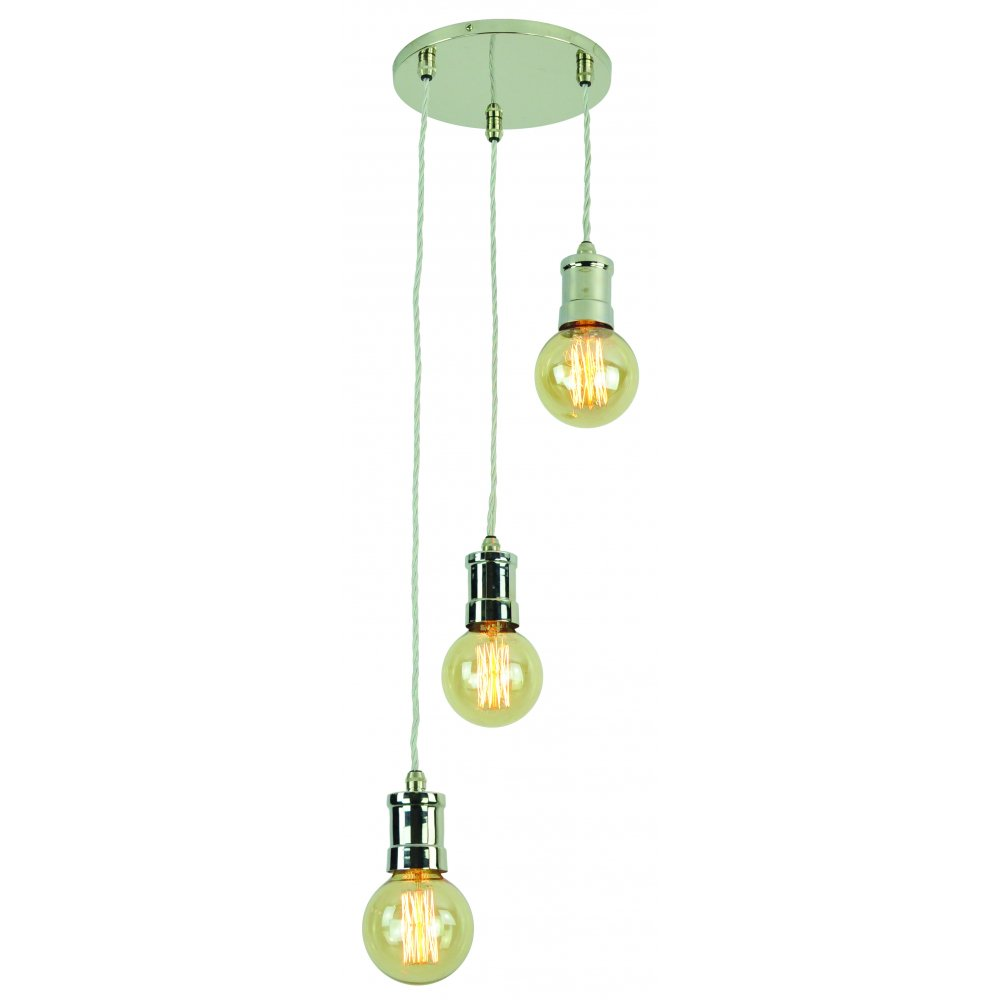 Nickel Cluster Ceiling Pendant With Lights On Braided Cord