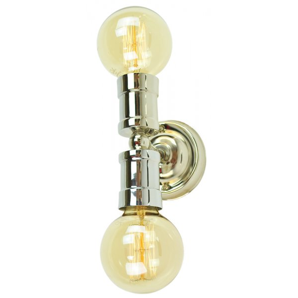 Industrial Style Double Wall Lights : Twin Nickel Wall Light in Vintage Urban Style with Edison Bulbs